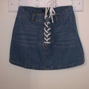 forever 21 lace up denim skirt